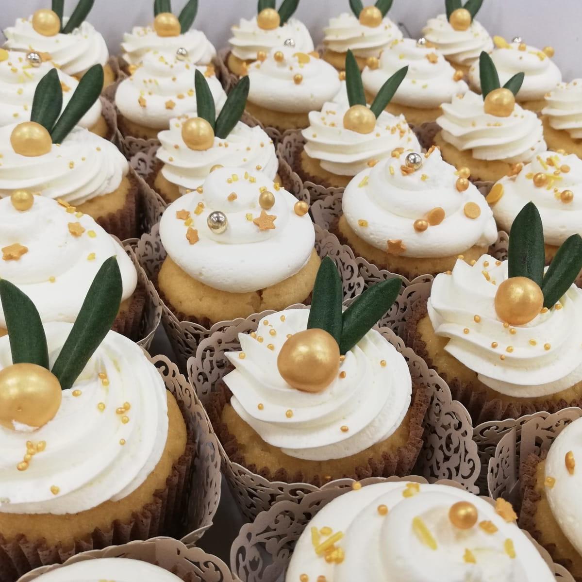 Cupcake groen/goud
