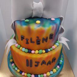 Veel kleurige taart